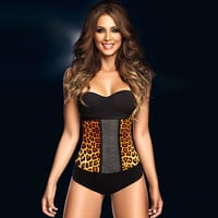 Sexy Waist Shaper Body Summer Sleeveless Leopard Steel Boned Latex Slim Push Up Corset [4965391428]
