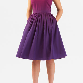 Ruched two-tone crepe dress