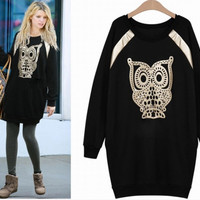 Owl Printed Long Sleeve Sweater