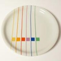 Retro Block China Harmony SALAD PLATE Sextet by modernspecific