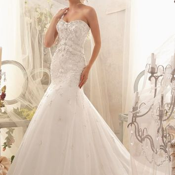 Mori Lee 2611 Beaded Fit and Flare Wedding Dress