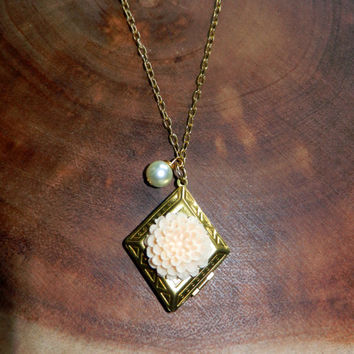 Gold Vintage Diamond Locket, Locket Charm Necklace, Mothers Day Gift, Vintage Jewelry, Charm Necklace