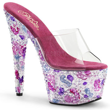 Rhinestone Encrusted Exotic Dancers Slide In Mule