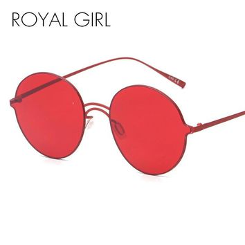 ROYAL GIRL Women Round Rimless Sunglasses Fashion Vintage Retro Mirror Glasses Brand Double nose Red lens Oculos Gafas De SS945