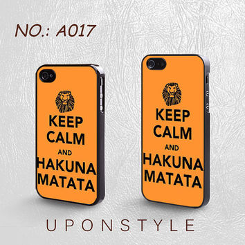 Phone Cases, iPhone 5 Case, iPhone 5s Case, iPhone 4 Case, iPhone 4s case, Keep Calm and Hakuna Matata, Case for iphone, Case No-017