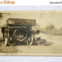 ON SALE Vintage Photo Tire Change on Convertible Jalopy Tin Lizzie Early 1900's , Old Black/White Picture Man Changing Tire on Antique Car