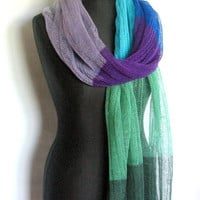 Linen Scarf Shawl Wrap Stole Blue Azure Green Turquoise Multicolored, Light, Transparent SALE
