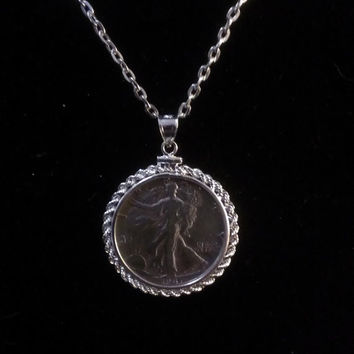 Walking Liberty Half Dollar Pendant in a Sterling Silver Rope Surround & silver tone Chain (420)