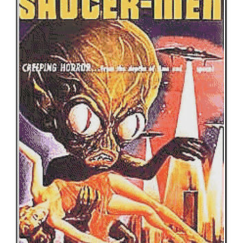 Invasion of the Saucer Men - retro sci fi movie poster  - cross stitch pattern - instant PDF download