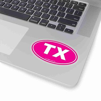 Texas TX Euro Oval Sticker SOLID PINK