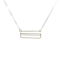 Sterling Silver Rectangle Necklace -