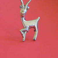 Charming Gazelle Brooch Pin, Tiny Art Deco Era Gazelle Ibex Antelope Brooch Pin, Stamped Mexico Silver