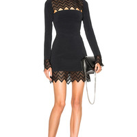 David Koma Zig Zag Macrame Mini Dress in Black | FWRD