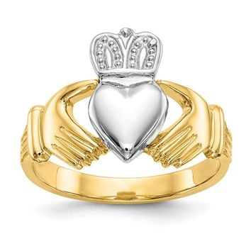 14K Rhodium Plated Yellow Gold Mens Claddagh Ring