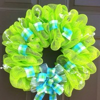 Summer wreath mesh deco for front door