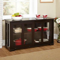 Espresso Sideboard Buffet Dining Kitchen Cabinet with 2 Glass Sliding Doors