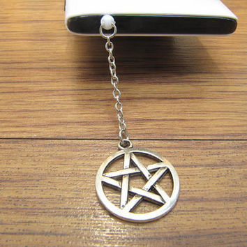 supernatural Pentacle dust proof plug,cute charms for iphone 5 4s 4, 3.5mm dust proof plug for Samsung Blackberry HTC