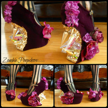 "Floral ""Orchadia"" Crystal Spike Heelless Wedges"