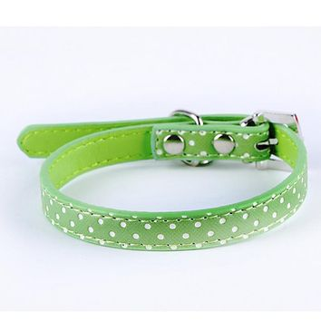 New Dog Collar Heart Crystal Pendant Lovely Small Pet Cat Collar Polka Dot Pattern