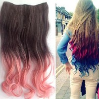 Uniwigs Ombre Dip-dye Color Clip in Hair Extension 45-50cm Length Black to Pink Loose Curl for Teen Girls Tbe0009