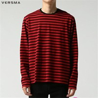 VERSMA BTS Kpop Korean Harajuku GD Black White Striped T-shirt Men Women Unisex Loose Oversize Extra Long Sleeve Couple T Shirt