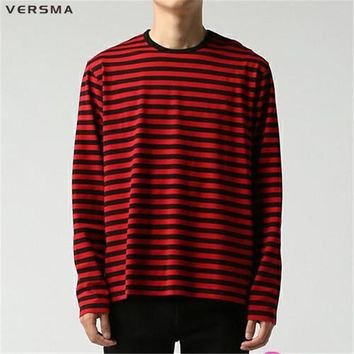 VERSMA BTS Kpop Korean Harajuku GD Black White Striped T-shirt Men Women Unisex Loose Oversized Extra Long Sleeve Couple T Shirt