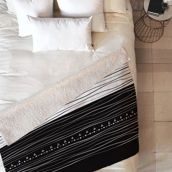 Viviana Gonzalez Black and white collection 01 Fleece Throw Blanket