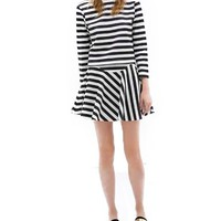Retro Style Black White Stripe Skirt