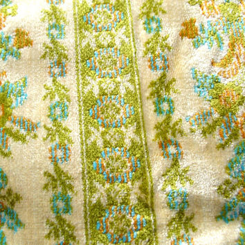 Vintage 70s Upholstery Fabric - Green and Blue Upholstery Fabric - Carpet Bag - Tapestry Fabric - Velvet Fabric