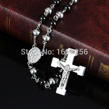 4mm/6mm/8mm Black Silver Rosary Chain Stainless Steel religious Jesus Crucifix Cross Necklace Pendant For Women Men Bling