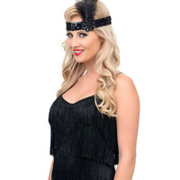 Black Sequin & Feather Stretch Headband