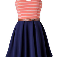 Meet Me in St. Thomas Coral & Navy Sweetheart Dress *MADE IN USA!*