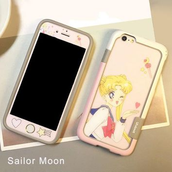 Sailor Moon glass screen protector pink girl  bumper case iphone6s/7/8/plus iphone x