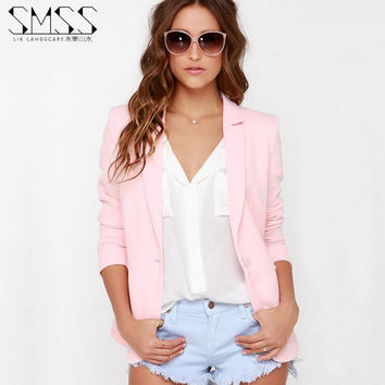 XS-XXL 6 Size Women Blazer Pink 2017 Spring Autumn Plus Size Lapel Jackets Long Sleeve Casual Jaqueta feminina