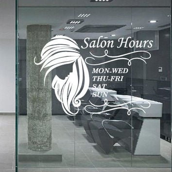 Wall decal decor decals art hair salon beauty hairstyle hairdresser signboard hours of operation mode time plate inscription girl (m1222)