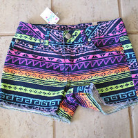 New Girls Justice Denim Jean Shorts Size 14 14S Slim Multi Color Rainbow NWT