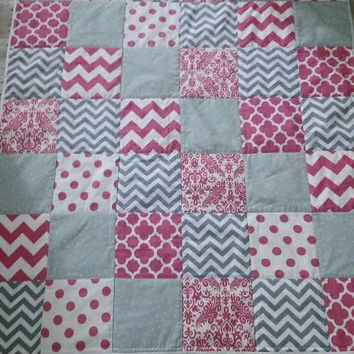 SALE Baby girl pink gray white minky quilt - chevron dots damask baby blanket - FLAWED