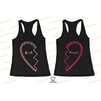 BFF Tank Tops Best Friend Matching Hearts Matching Shirts for Best Friends