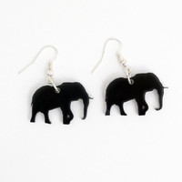 Elephant Earrings Free Shipping Laser Cut Gray Elephant Jewelry Africa Grey Elephant Dangle Earrings