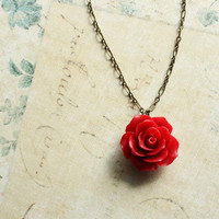 Red Rose Necklace, Flower Pendant, Resin Floral Jewellery, Botanical, Nature, Rose