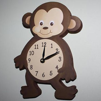 Kids Wall Clock Boy Monkey Bedroom Nursery Wall Clock WC0076
