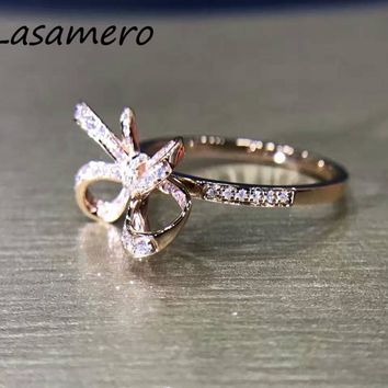 LASAMERO Ring For Women 0.18ct Round Cut 18k Rose Gold Bow Tie Shape Design Natural Diamond Ring Engagement Wedding Ring