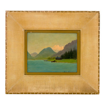 Vintage Original Painting Oil on Canvas Art Signed by Jeanne Laurence Alaskan Artist