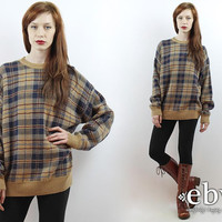 Vintage 90s Beige Oversized Plaid Sweater S M L Plaid Jumper 90s Grunge Sweater Oversized Sweater Oversized Knit Oversized Jumper Plaid Knit