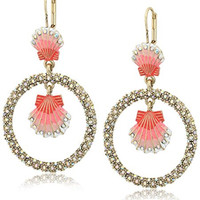 "Betsey Johnson ""The Sea"" Shell Orbital Drop Earrings"