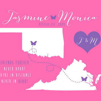 Gift for Best Friend Sister Sorority - 8x10 Long Distance Maps, Two States, Butterfly, Hearts, Pink and Purple, Christmas Present for Friend