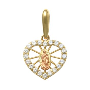 Heart Shape Religious Pendant in 14k Yellow Gold
