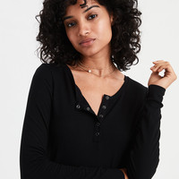 AE Soft & Sexy Ribbed Long Sleeve Henley T-Shirt, True Black