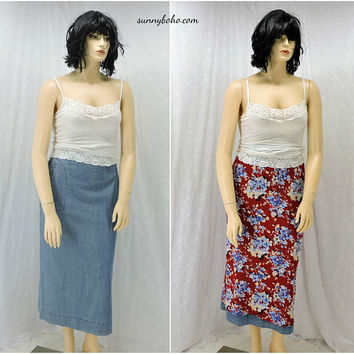 Retro 80s high waisted denim maxi skirt / size 13 /14 / reversible red floral maxi skirt / / size L / boho country cottage chic jean skirt