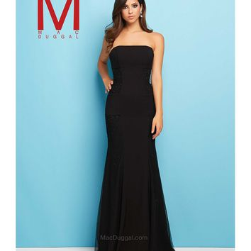 Mac Duggal 48324L Black Elegant Fitted Strapless Long Gown 2016 Prom Dresses